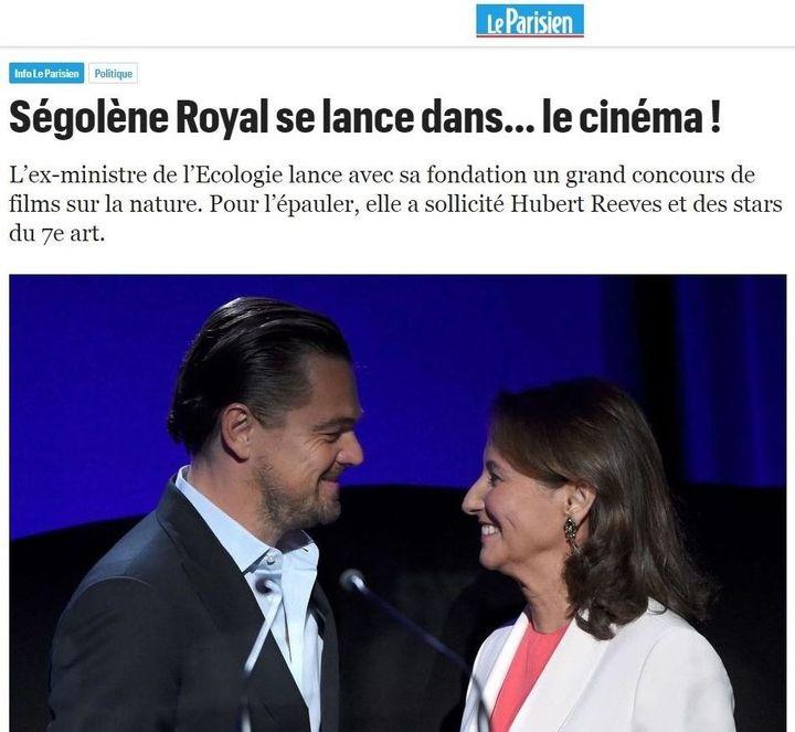 """""""Ségolène Royal se lance dans le cinéma"""". (CAPTURE ECRAN D'UN ARTICLE DU PARISIEN DU 5 JUILLET 2018)"""