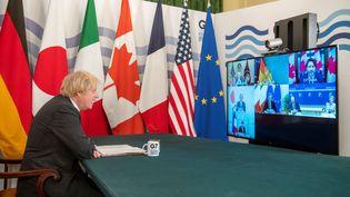 Le Premier ministre britannique, Boris Johnson, a présidé une réunion en visioconférence du G7, le 19 février 2021. (GEOFF PUGH / AFP)