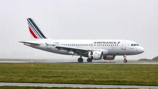 Un Airbus A319 d'Air France atterit à l'aéroport d'Amsterdam (Pays-Bas), le 28 février 2020. (NICOLAS ECONOMOU / NURPHOTO / AFP)
