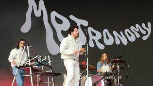 Le groupe anglais Metronomy, emmené par Joe Mount, sur scène au festival All Points East à Londres le 26 mai 2019. (KEITH MAYHEW/LANDMARK MEDIA/NEWSCOM/SIPA / NEWSCOM)