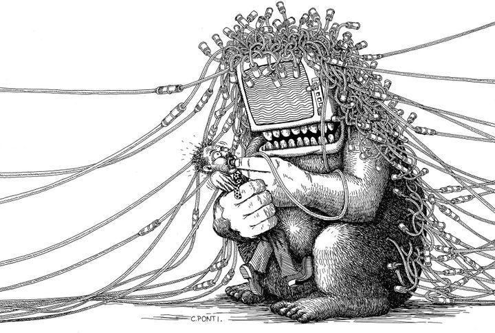 Dessin sur l'envahissement de l'informatique paru dans L'Express  (Claude Ponti)