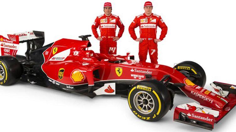 La nouvelle Ferrari F14-T présentée par Alonso et Räikkönen.  (FOTO STUDIO COLOMBO / FERRARI)