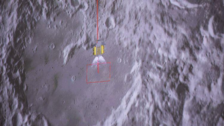 Une photo d'une simulation de l'aterrissage dumodule d'exploration chinois Chang'e-4 arrivé sur la Lune le 3 janvier 2019. (JIN LIWANG / XINHUA / AFP)