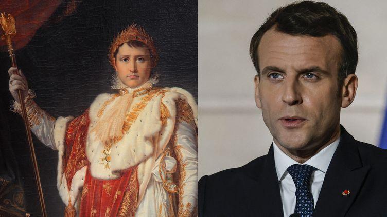 Le président Emmanuel Macron au Conseil de l'Europe, 25 février 2021 et un portrait de Napoléon (1769-1821), par Francois Gerard, (1770-1837), iMusée National du Chateau de Fontainebleau (THOMAS COEX / AFP)