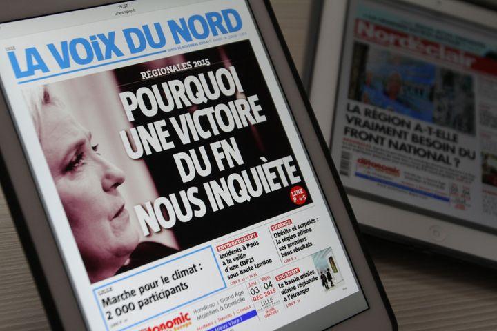 """Marine Le Pen en une du quotidien """"La Voix du Nord"""", le 30 novembre 2015. (MAXPPP)"""