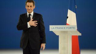 Nicolas Sarkozy lors de son meeting à Villepinte (Seine-Saint-Denis) le 11 mars 2012. (ERIC FEFERBERG / AFP)