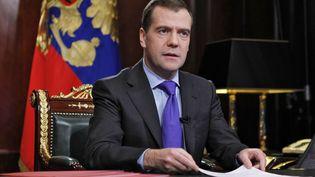 Le président russe Dmitri Medvedev lors d'un discours à la résidence de Gorki (Russie), le 2 décembre 2011. (RIA NOVOSTI / AFP)