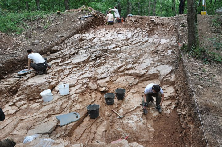 Les archéologues durant les fouilles sur le site de Gannat (Allier) (P-Y. MILCENT)