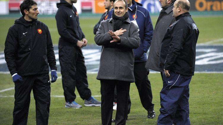 Philippe de Saint-André, le sélectionneur de l'équipe de France de rugby à XV, au stade de France le 12 février 2012. (BERTRAND LANGLOIS / AFP)