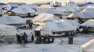 Le camp de déplacés d'Aïn Issa, dans le nord de la Syrie, qui accueille des Syriens mais aussi des femmes et enfants de combattants étrangers de l'Etat islamique, ici le 11 juillet 2017. (BULENT KILIC / AFP)