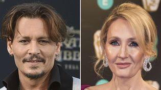Johnny Depp le 18 mai 2017 à Los Angeles ; J.K. Rowling le 12 février 2017 à Londres  (AP / Sipa)