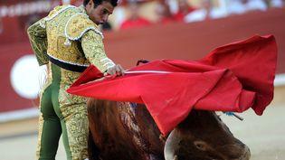 Le matadorMorenito de Aranda, dimanche 2 août lors d'une corrida à Bayonne(Pyrénées-Atlantiques) au cours de laquelle deux personnes ont été blessées. (IROZ GAIZKA / AFP)