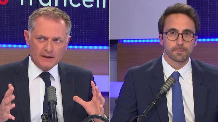 "Philippe Juvin et Thomas Mesnier, invités du ""8h30 franceinfo"", lundi 25 mai. (FRANCEINFO / RADIO FRANCE)"