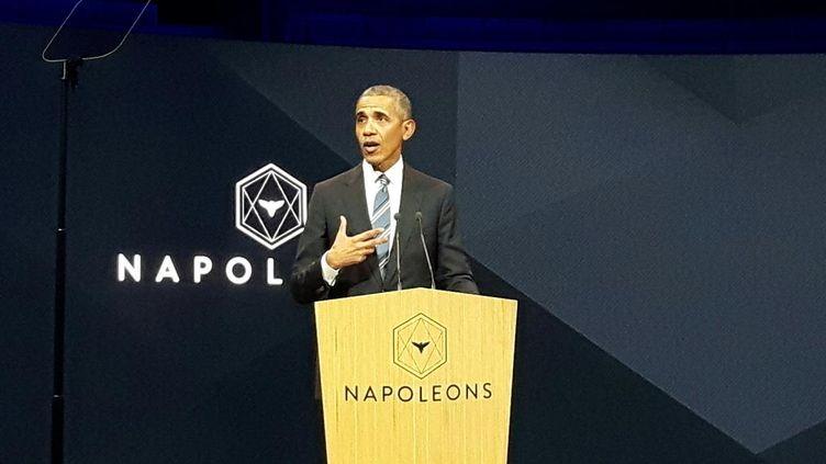 Barack Obama à Radio France, le 2 décembre 2017. (Eric Chaverou / Radio France)