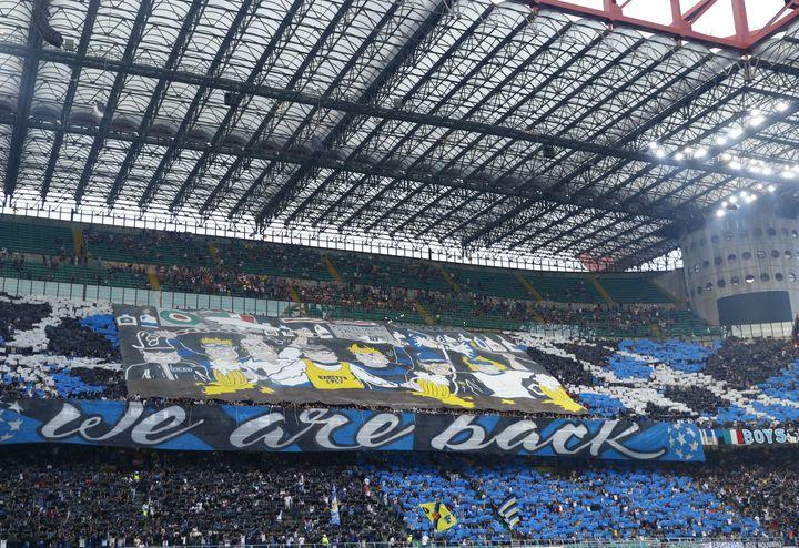 Le stade San Siro lors du retour de l'Inter en Ligue des champions en 2018 (MATTEO CIAMBELLI / NURPHOTO)