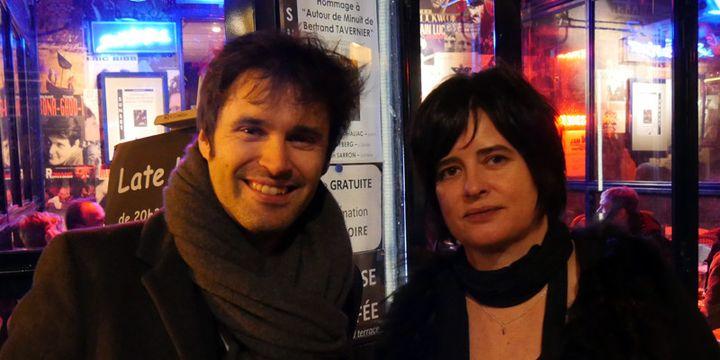 Paul Lay et Géraldine Laurent devant le club Sunside/Sunset peu après la cérémonie de l'Académie du Jazz, le 8 février 2016  (Annie Yanbékian / Culturebox)