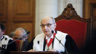 Didier Migaud, président de la Cour des comptes, lors de l'audience solennelle de rentrée de l'institution, à Paris, le 9 janvier 2014. (MAXPPP)
