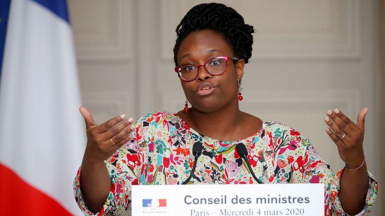 La porte-parole du gouvernement, Sibeth Ndiaye, le 4 mars 2020 lors de la conférence de presse suivant le Conseil des ministres. (CHARLES PLATIAU / AFP)