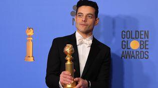 """Rami Malek, meilleur acteur aux Golden Globes pour son rôle dans """"Bohemian Rhapsody"""" (6 janvier 2019)  (Mark Raston / AFP)"""