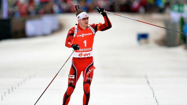 Le biathlète norvégien Emil Hegle Svendsen (ODD ANDERSEN / AFP)