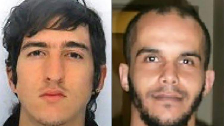 Les portraits de Clément B. (gauche) etMahiedine M., arrêtés le 18 avril 20117 et diffusés par la police. (POLICE NATIONALE / AFP)