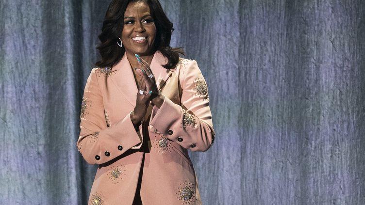 Michelle Obama en avril 2019 à Copenhague, pendant la tournée promotionnelle de son livre. (MARTIN SYLVEST / RITZAU SCANPIX)