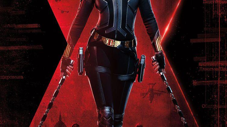 """Détail de l'affiche du film """"Black Widow"""" de Marvel, avec Scarlett Johansson dans le rôle-titre. (Yonhap News Agency / MAXPPP)"""