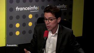 Geoffroy Didier, secrétaire général déléguédu parti LesRépublicains, dans le studio de franceinfo, le 3 mai 2018. (FRANCEINFO / RADIOFRANCE)