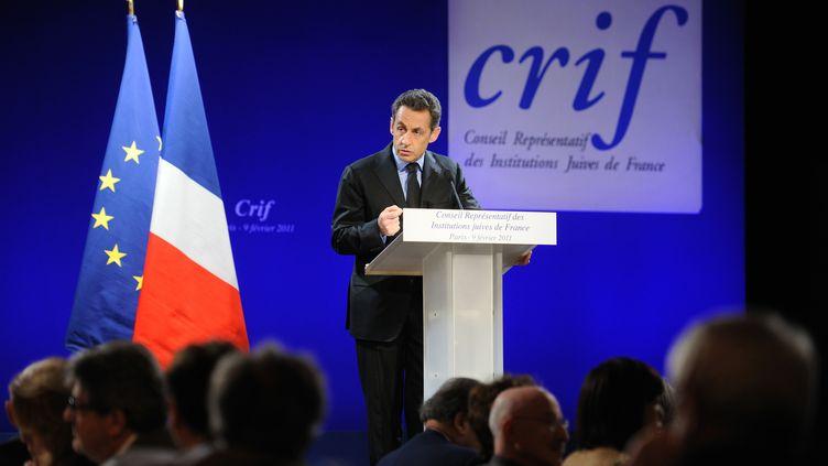 Nicolas Sarkozy lors du dîner annuel du Crif, au pavillon d'Armenonville, à Paris, le 9 février 2011. (ERIC FEFERBERG / AFP)