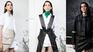 Le travail du Victoria Feldman et Tomas Berzins : à gauche la ceinture-jupe-sac, au centre le col en cuir coloré vert  (Victoria/Tomas )