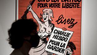 """L'exposition """"Le rire de Cabu"""" se tient à l'Hôtel de ville de Parisjusqu'au 9 janvier 2021. (ALAIN JOCARD / AFP)"""