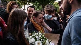 Valérie Bacot repart libre de la Cour de justice de Chalon-sur-Saône le 25 juin 2021. (JEFF PACHOUD / AFP)