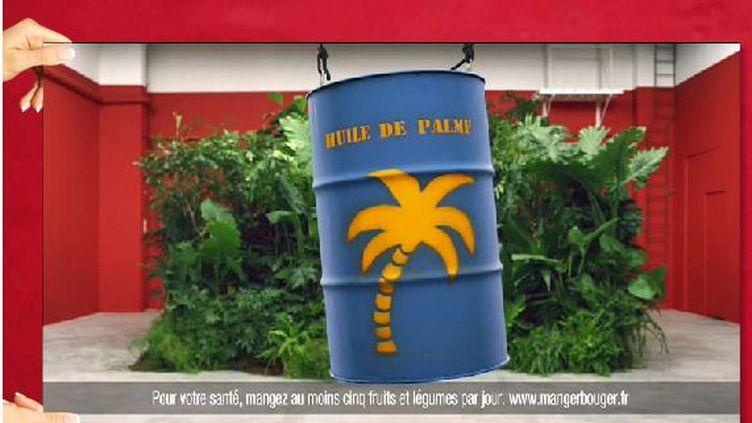 """Capture d'écran de la publicité """"sans huile de palme"""" des magazins """"Système U"""" diffusée au printemps 2012 et interdite le 4 décembre de la même année. (CAPTURE D'ECRAN / FRANCETV INFO)"""
