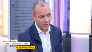 """Invité de Jean-Paul Chapel dans """": L'éco"""", mardi 5 septembre, Laurent Berger, secrétaire général de la CFDTest revenu sur la réforme du code du travail. (FRANCEINFO)"""