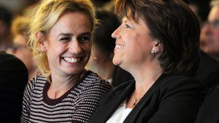 La comédienne Sandrine Bonnaire est venue soutenir Martine Aubry à l'occasion de son dernier meeting avant le second tour de la primaire socialiste, au palais des sports de Lille jeudi 13 octobre. (AFP)