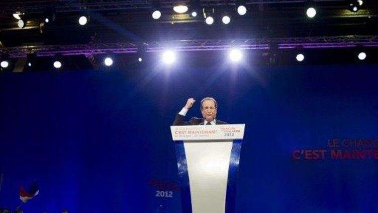 François Hollande tient son premier grand meeting de campagne, au Bourget (Seine-Saint-Denis), le 22 janvier 2012. (AFP - Fred Dufour)