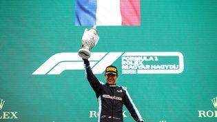 Esteban Ocon, vainqueur du Grand Prix de Hongrie, dimanche 1er août 2021. (XAVI BONILLA / XAVI BONILLA / AFP)