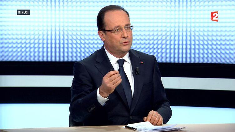 Le président, François Hollande, sur France 2 jeudi 28 mars 2013. (FRANCE 2 / AFP)