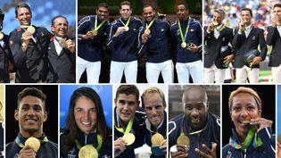 Les médailles d'or françaises : (en haut) l'équipe d'équitation,l'équipe de cyclisme.(En bas) la judokate Emilie Andeol, le boxeur Tony Yoka, la véliplanchiste Charline Picon, l'équipe d'aviron Jeremie Azou et Pierre Houin, le judoka Teddy Riner, la boxeuseEstelle Mossely etDenis Gargaud Chanut au canoë.Rio (Brésil), le 22 août 2016. (PHILIPPE LOPEZ / AFP)