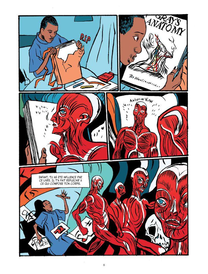 """Cette planche de """"Basquiat"""", la biographie dessinée de Julian Voloj et Soren Mosdal, montre l'une despremières sources d'inspiration du peintre Jean-Michel Basquiat : un livre d'anatomie offert par ses parents sur son lit d'hôpital. (JULIAN VOLOJ - SOREN MOSDAL (COURTESY EDITIONS SOLEIL))"""