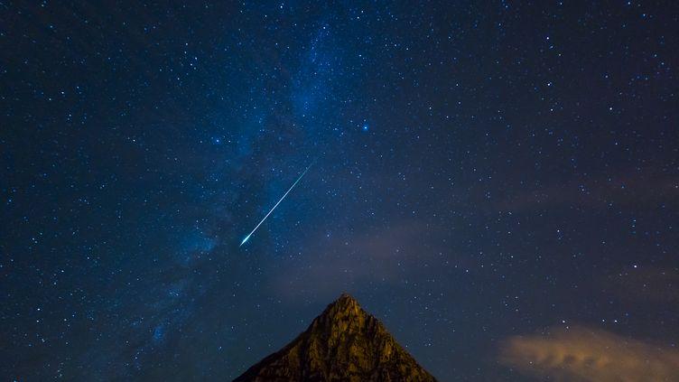 Une étoile filante photographiée en Espagne, en janvier 2016. (JUAN-CARLOS MUNOZ / BIOSPHOTO / AFP)