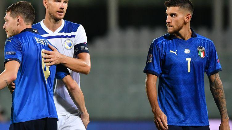 La Bosnie, d'Edin Dzeko, et l'Italie se quittent dos à dos (1-1). (ISABELLA BONOTTO / AFP)
