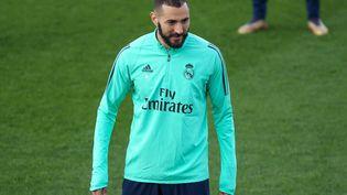 L'attaquant du Real Madrid Karim Benzema à l'entraînement le 25 janvier 2020. (IRH / SPAINDPPI / AFP)
