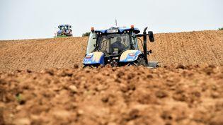 Un agriculteur dans son champs de pommes de terre à Avesnes-le-Sec, dans le nord de la France, le 23 avril 2019. (FRANCOIS LO PRESTI / AFP)