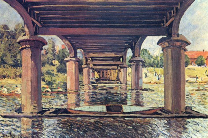 """""""Sous le pont de Hampton Court"""", 1874. Huilesur toiled'Alfred Sisley. (SCHWEIZERISCHES INSTITUT FÜR KUNSTWISSENSCHAFT, ZÜRICH, LUTZ HARTMANN)"""