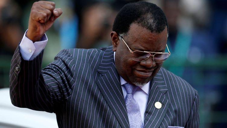 Le président namibien, Hage Geingob, lors de l'investiture de Cyril Ramaphosa à Pretoria, en Afrique du Sud, le 25 mai 2019. (SIPHIWE SIBEKO / REUTERS)
