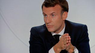 Emmanuel Macron à l'Élysée, le 14 ocotbre 2020. (LUDOVIC MARIN / AFP)