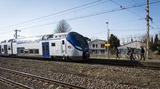 Un train TER s'arrête pour prendre des passagers à Villefranche-de-Lauragais (Haute-Garonne), le 27 février 2018. (ERIC CABANIS / AFP)
