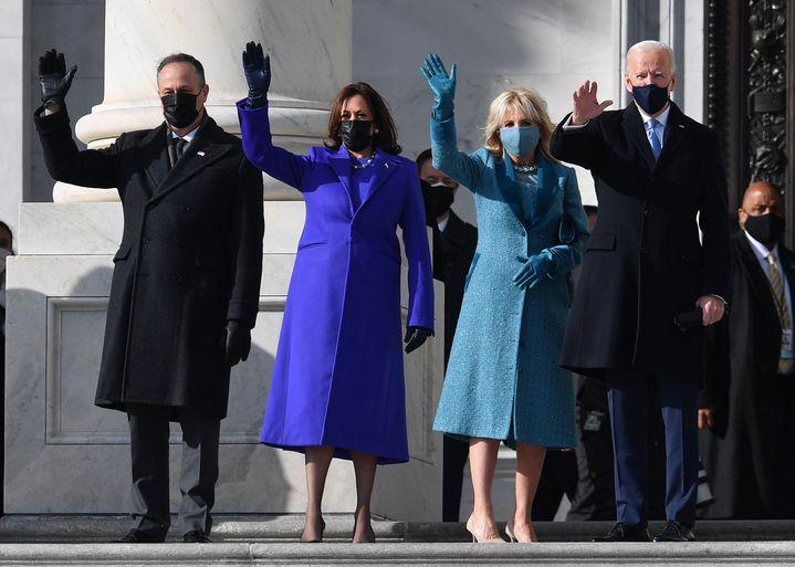 Kamala Harris, vice-présidente américaine et son époux Doug Emhoff, Joe Biden et son épouse, cérémonie d'investiture, 20 janvier2021 (ANGELA WEISS / AFP)