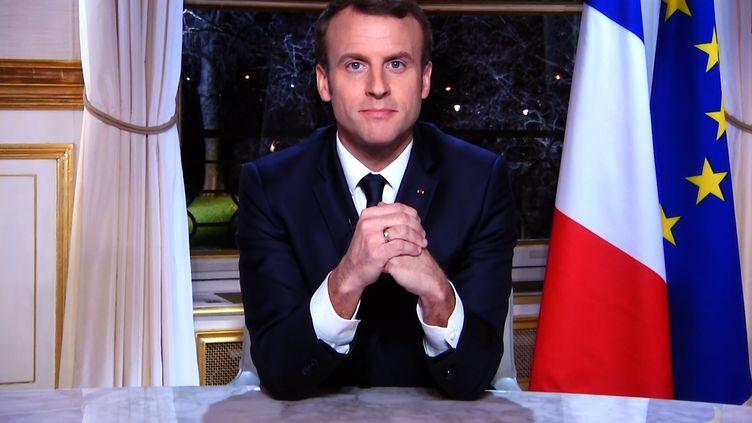 Emmanuel Macron lors des vœuxaux Français à l'Elysée, le 31 décembre 2017. (MAXPPP)